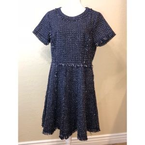 ELIZA J TWEED FIT AND FLARE FRINGE EDGE DRESS